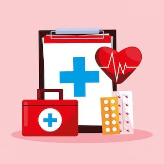 Scheda della giornata mondiale della salute con appunti e kit di pronto soccorso