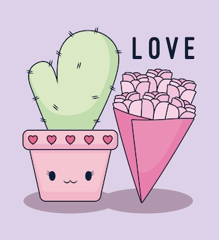 Scheda di amore con cactus kawaii