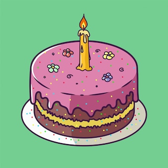 Scheda di anniversario di buon compleanno con il bigné e una candela in stile design luminoso