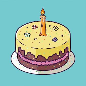 Scheda di anniversario di buon compleanno con il bigné e una candela nel design luminoso