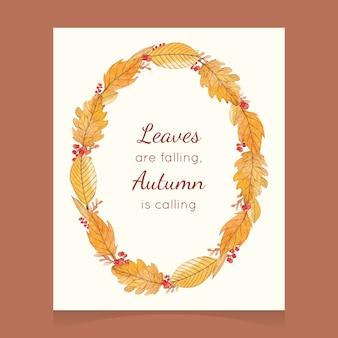 Scheda di autunno dell'acquerello con una corona