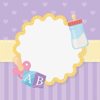 Scheda di bambino doccia con bottiglia di latte
