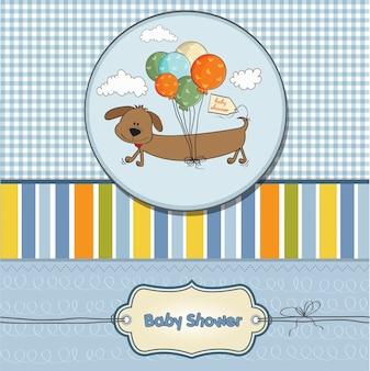 Scheda di bambino doccia con cane lungo e palloncini