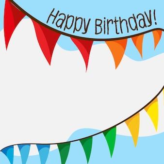 Scheda di buon compleanno con bandiere e copyspace