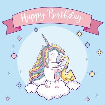 Scheda di buon compleanno con cartoni animati fantasia di unicorni carini