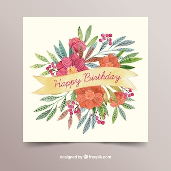 Scheda di buon compleanno con fiori in stile acquerello
