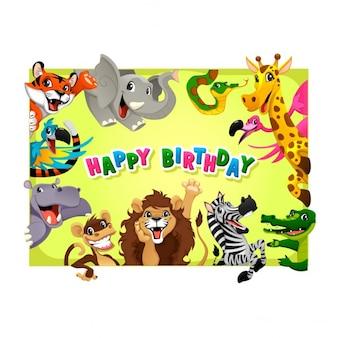Scheda di buon compleanno con gli animali della giungla del fumetto illustrazione vettoriale con telaio in proporzioni A4
