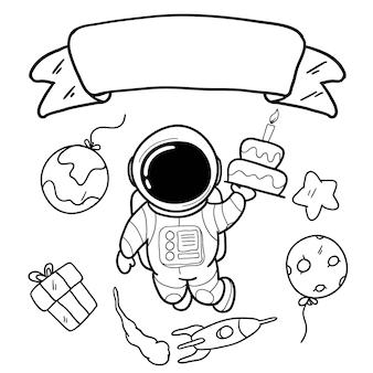 Scheda di buon compleanno con la mano disegno astronauta e spazio