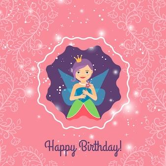 Scheda di buon compleanno con la principessa dei cartoni animati