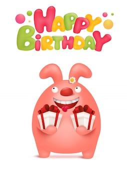 Scheda di buon compleanno con personaggio dei cartoni animati di coniglio rosa.