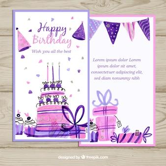 Scheda di buon compleanno con torta e scatola di regali