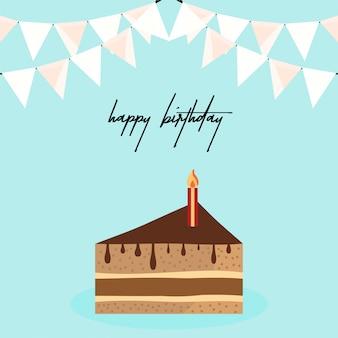 Scheda di buon compleanno con un design elegante e torta