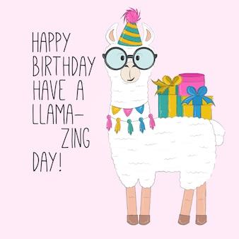 Scheda di buon compleanno di lama