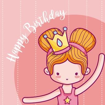 Scheda di buon compleanno per la ragazza con la principessa
