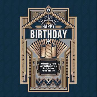 Scheda di buon compleanno, retro art deco vector design dorato
