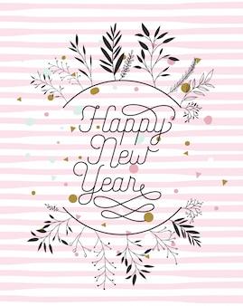 Scheda di calligrafia di felice anno nuovo con corona di foglie