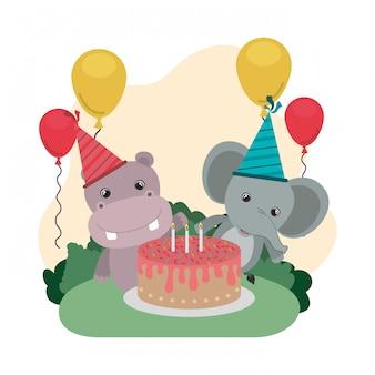 Scheda di celebrazione con animali