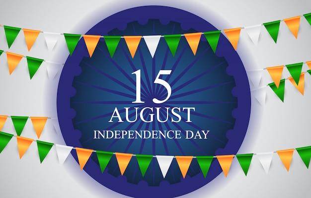 Scheda di celebrazione del giorno dell'indipendenza dell'india del 15 agosto. illustrazione vettoriale