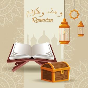 Scheda di celebrazione del kareem del ramadan con cassa e libro di legno