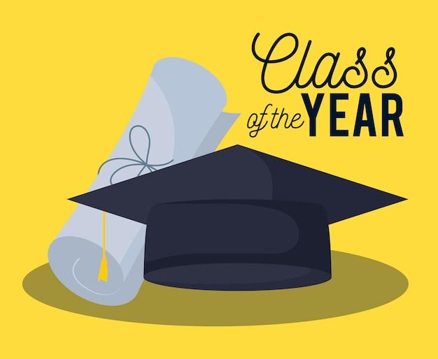 Scheda di celebrazione della classe di laurea con cappello e diploma