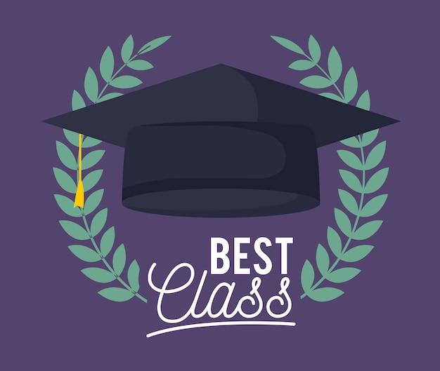 Scheda di celebrazione della classe di laurea con cappello
