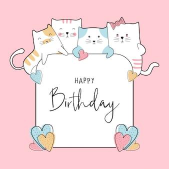 Scheda di celebrazione di compleanno con disegno di gatti di bambino carino