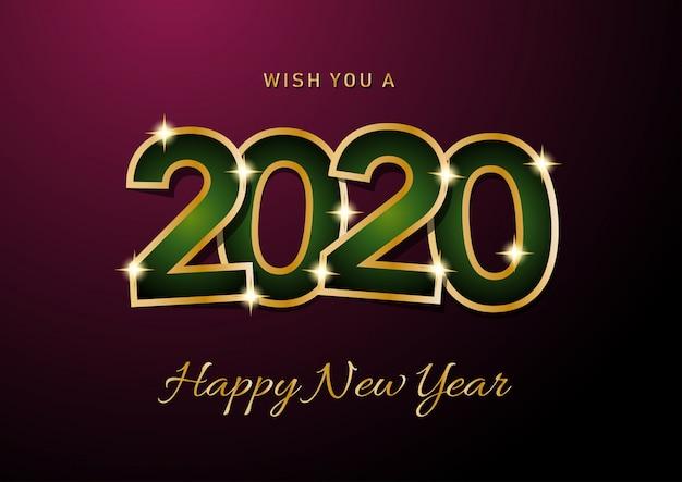 Scheda di celebrazione di felice anno nuovo 2020