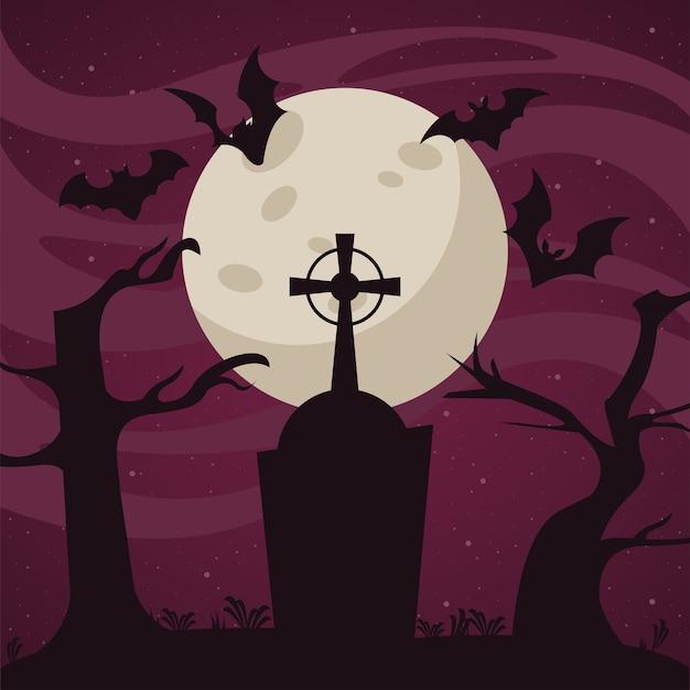 Scheda di celebrazione di halloween felice con pipistrelli che volano nel cimitero.