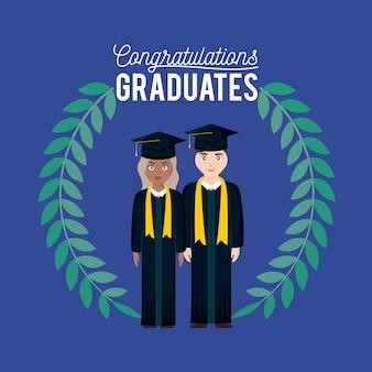 Scheda di celebrazione di laurea con coppia laureata e corona