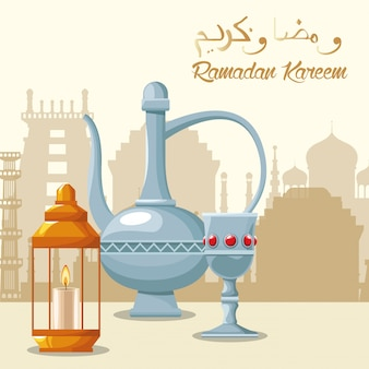 Scheda di celebrazione di ramadan kareem con teiera e calice