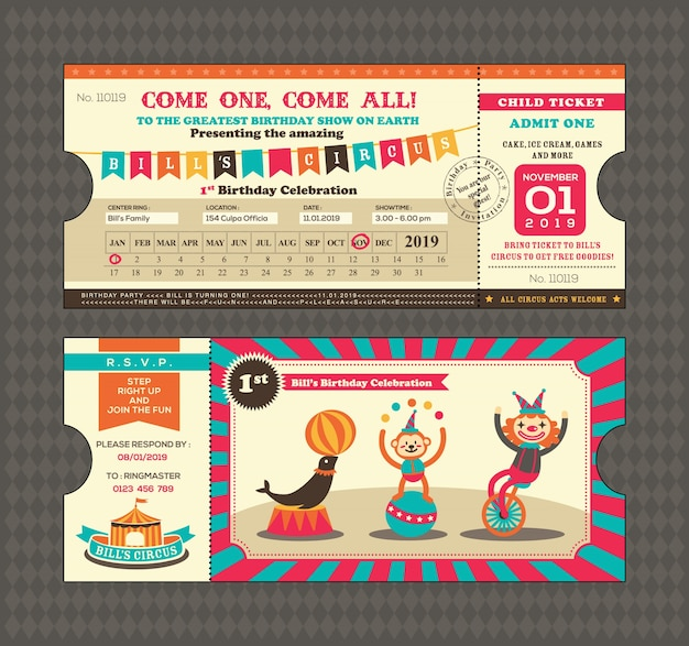 Scheda di compleanno con il modello di progettazione del biglietto del circo