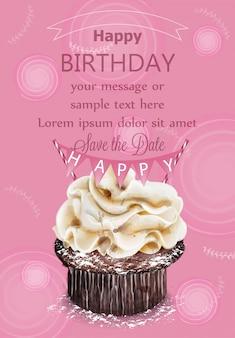 Scheda di compleanno felice cupcake rosa