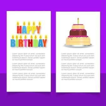 Scheda di design elegante di vettore di buon compleanno