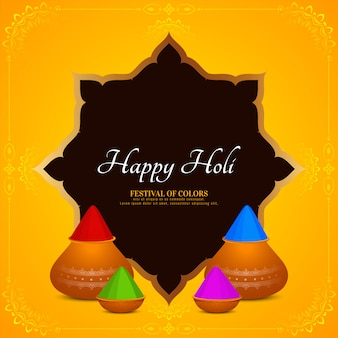Scheda di festival indiano felice holi con cornice