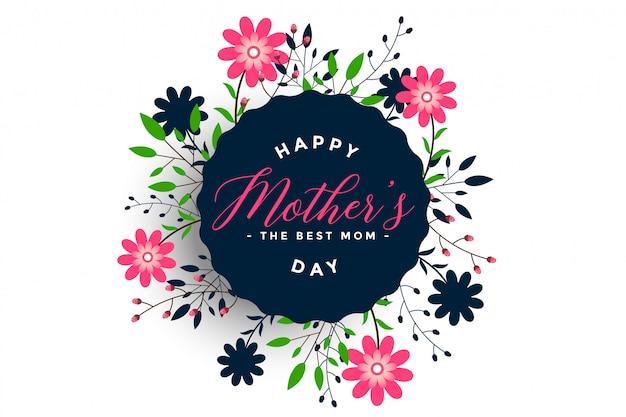 Scheda di fiore decorativo felice festa della mamma