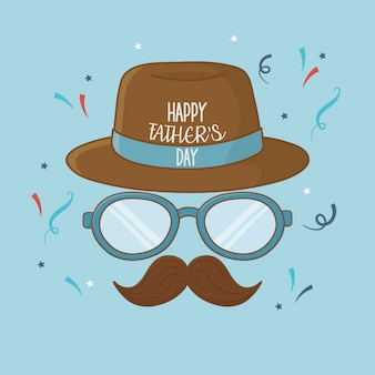 Scheda di giorno di padri felice con baffi e occhiali