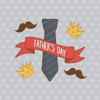Scheda di giorno di padri felice con cravatta al collo