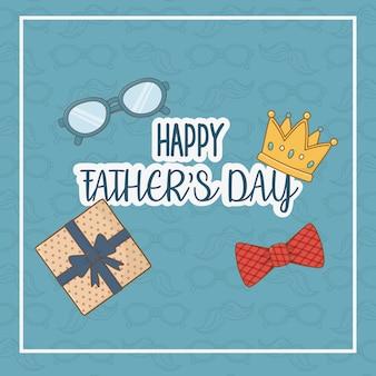 Scheda di giorno di padri felice con elementi impostati