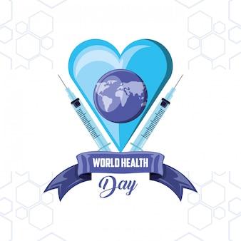 Scheda di giorno di salute mondiale con cuore
