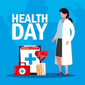 Scheda di giorno di salute mondiale con donna medico e icone