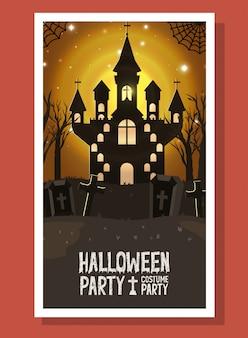 Scheda di halloween con scena di castello scuro