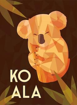 Scheda di koala australiano carino su un albero