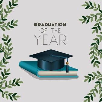 Scheda di laurea con cappello e libro