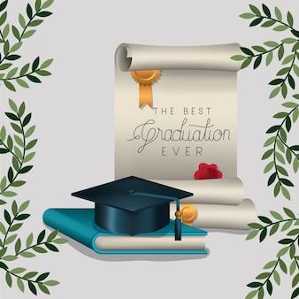 Scheda di laurea con diploma e cappello