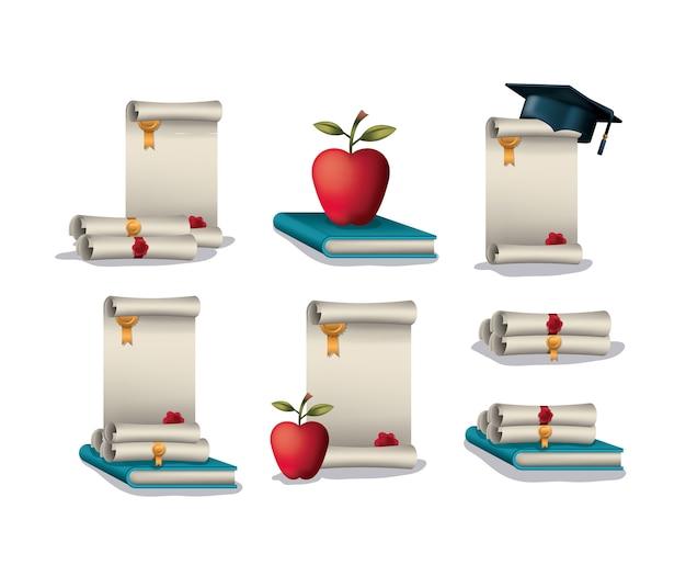 Scheda di laurea con icone set