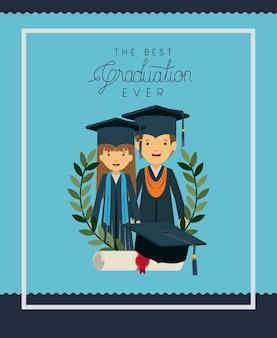 Scheda di laurea con laureati di coppia