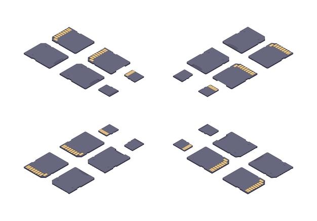 Scheda di memoria sd piatta isometrica