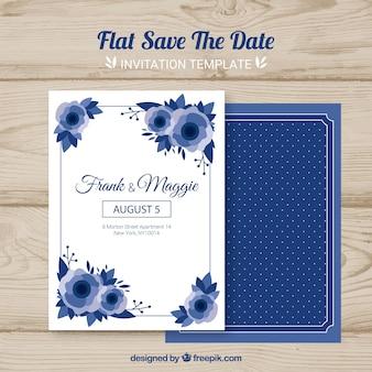 Scheda di nozze con fiori piatti
