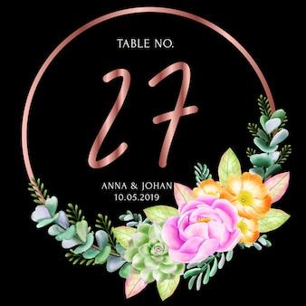 Scheda di numero di tavolo cornice floreale di bellezza