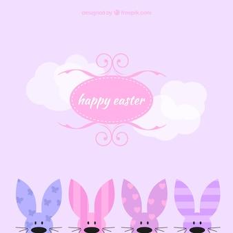 Scheda di pasqua con i coniglietti capolino